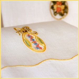 Towels embroidered Fabergé eggs collection
