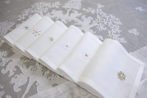 cocktail napkins, linen hand embroidered with snowflakes (snow crystals)