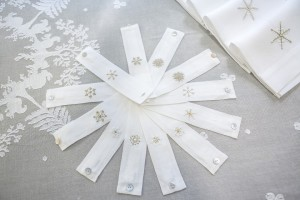 napkin rings, linen hand embroidered with snowflakes (snow crystals)