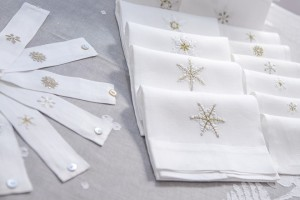 guest towels, linen hand embroidered with snowflakes