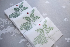 "linen guest towels "" Felci"" hand embroidered"