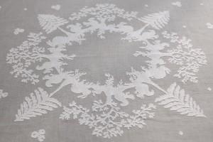 "big rectangular tablecloth ""Christmas"" white cotton gauze"