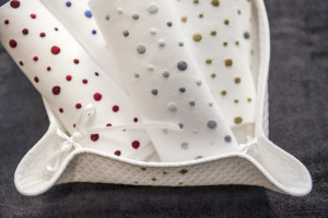 """linen guest towels """"Pois"""" hand embroidered with piqué basket embroidered"""