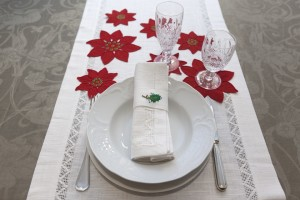 linen Poinsetiae hand embroidered, runner+napkins with a jour hand embroidered, napkin ring Christmas series hand embroidered
