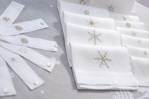 """asciugamani da ospiti, lino ricamato a mano """"cristalli di neve"""""""
