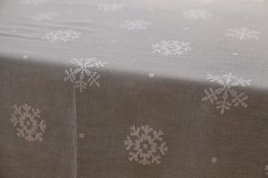 "tovaglia ""Fiocchi di neve"", garza di cotone bianca"